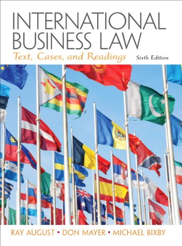 Solution Manual for International Business Law 6th Edition by August