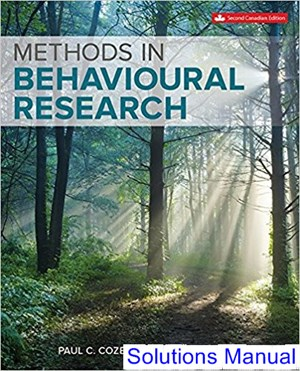 Methods in Behavioural Research Canadian 2nd Edition Cozby Solutions Manual