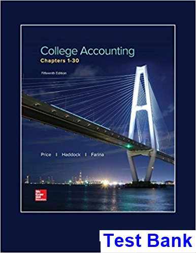 College Accounting Chapters 1 30 15th Edition Price Test Bank