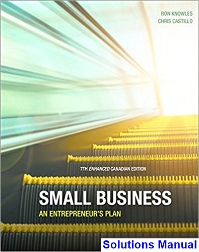 Small Business An Entrepreneurs Plan Enhanced Canadian 7th Edition Knowles Solutions Manual