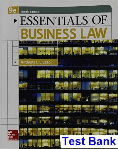 Essentials of Business Law 9th Edition Anthony Liuzzo Test Bank