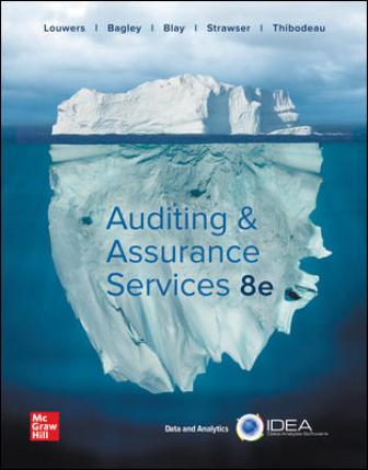 Solution Manual for Auditing and Assurance Services, 8th Edition, Timothy Louwers, Penelope Bagley, Allen Blay, Jerry Strawser, Jay Thibodeau, ISBN10: 126036920X, ISBN13: 9781260369205